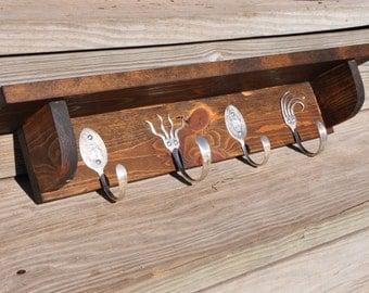 SILVERWARE Hooks Coat Rack with Shelf  WALNUT Stain