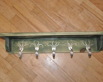5 Fork Hook Coat Rack with Shelf in Stained Green