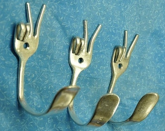 PEACE Special set of 3 Silverware Coat Hooks