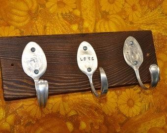 I LOVE YOU 3 Spoon Hooks Rack