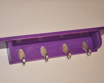 Spoons Hooks Coat Rack with Shelf in Distressed Purple