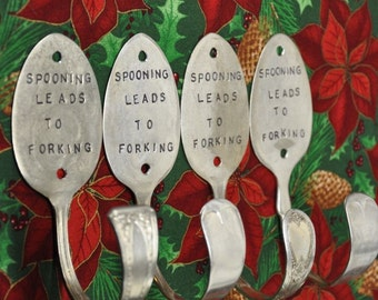 4 Silver Spoon Hooks Stamped Spooning Leads To Forking