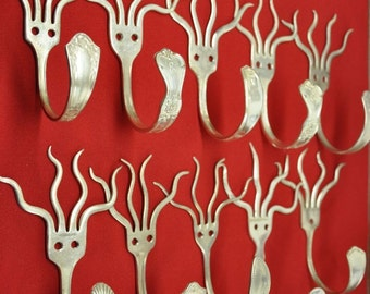 8 Silverware Coathooks Modern Decor Recycled art with forks