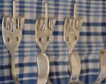 3 FORK YOU Silverware Coat Hooks