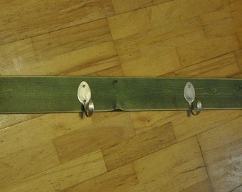 BEAUTIFUL Coat Rack with 4 Hammered Table Spoons Stained Green (36 INCH)