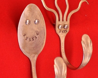 Spoon Man  vs.  Fork Man Silverware Hooks