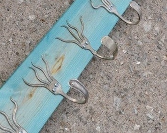 Turquoise Stained 5 Funky Forks Coat Rack