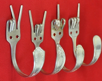 Silver Peace x Fork U x Rock On x Love Special Dinner Fork Collector set 4 Silverware Coat Hooks