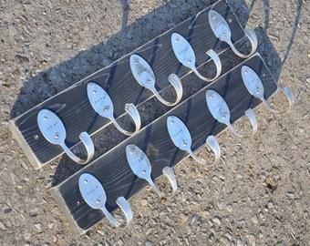 2 Personalized Spoon Hook Racks  Distressed