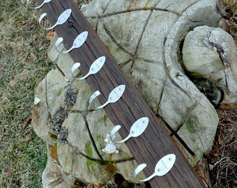 One personalized Coat Rack Espresso 10 Hooks Recycled Silverware