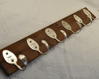 Personalized Spoons Coat Rack  with  6 personalized spoon hooks