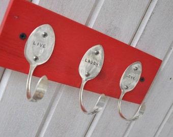Live Laugh Love Stamped Vintage Spoons Coat Rack