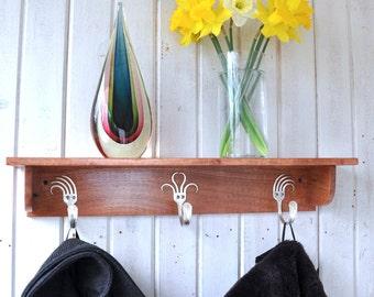 Forks Coat Rack Shelf   Cherry Finish