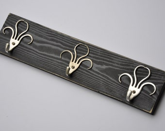 Mini Funky 003 Fork Hooks Jewelry or Keys Rack Black Distressed