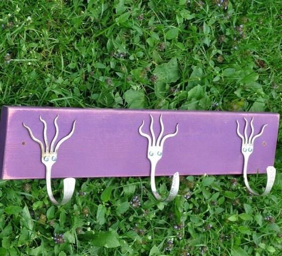 Purple Funky Forks Coat Rack