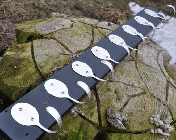 BEAUTIFUL Coat Rack with 8 Hammered Spoons