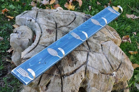 Awesome Spoons and fork hooks rack  Blue distressed
