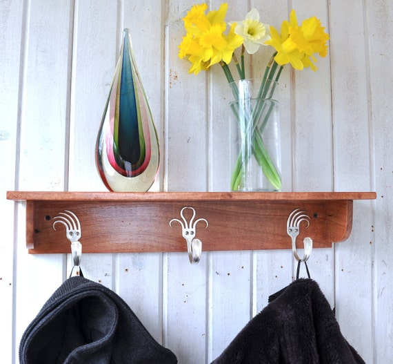 Forks Coat Rack Shelf   Cherry Finish