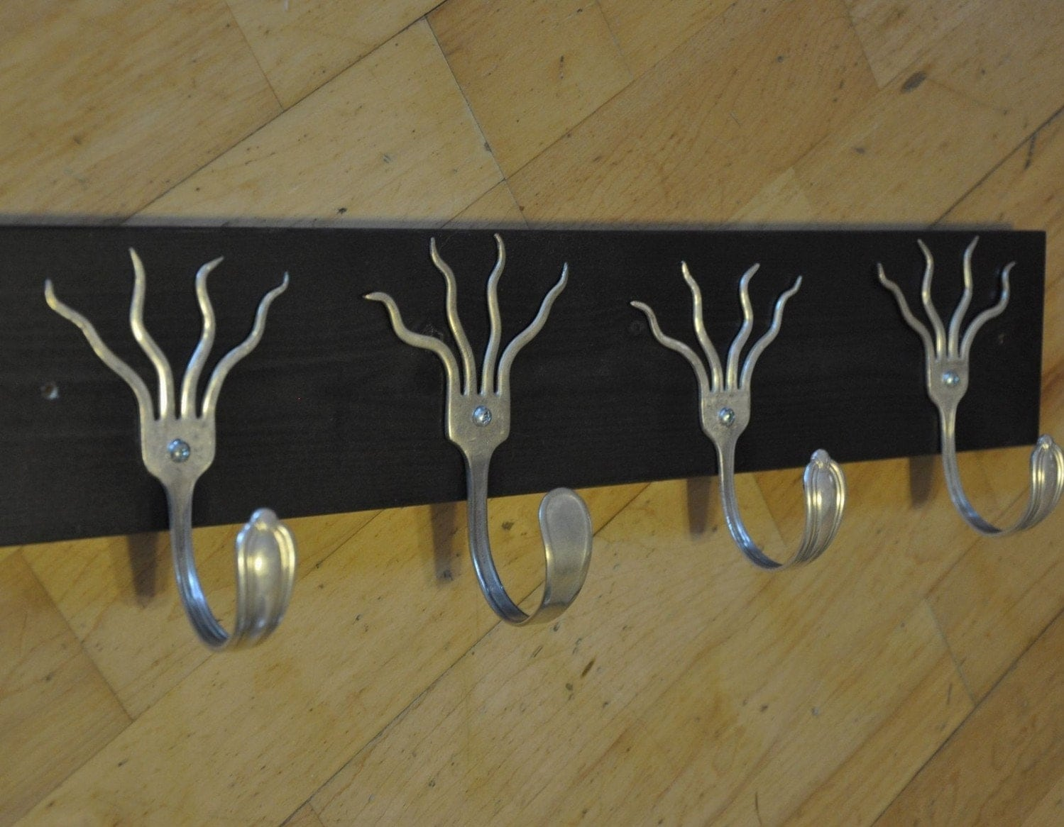 funky forks coat rack made with upcycled wood by jjevensen