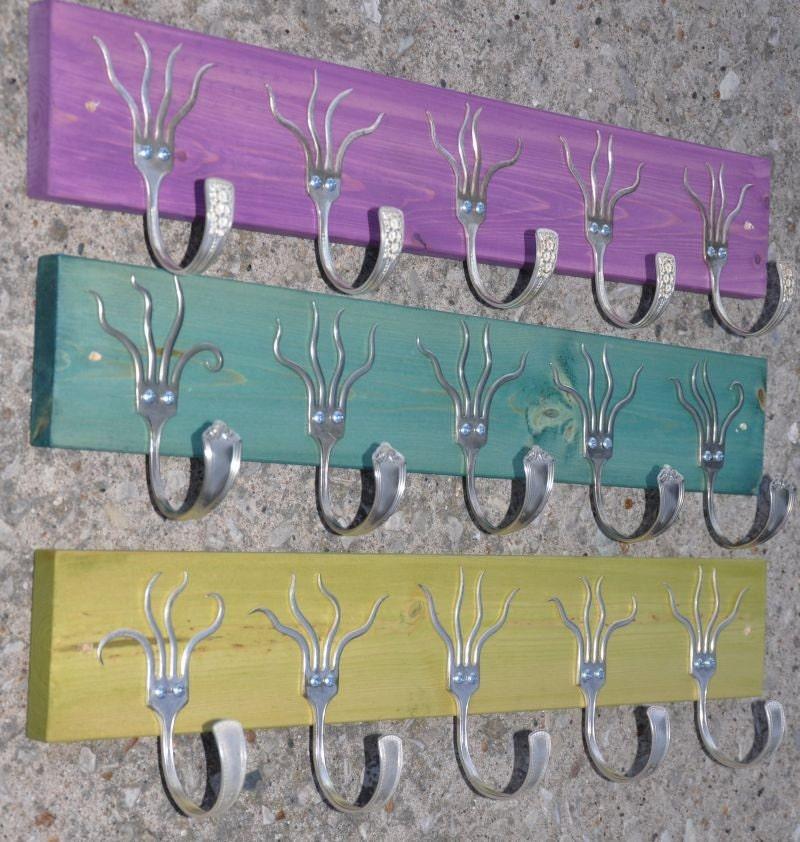three 5 funky forks coat racks oh yeah purple by jjevensen