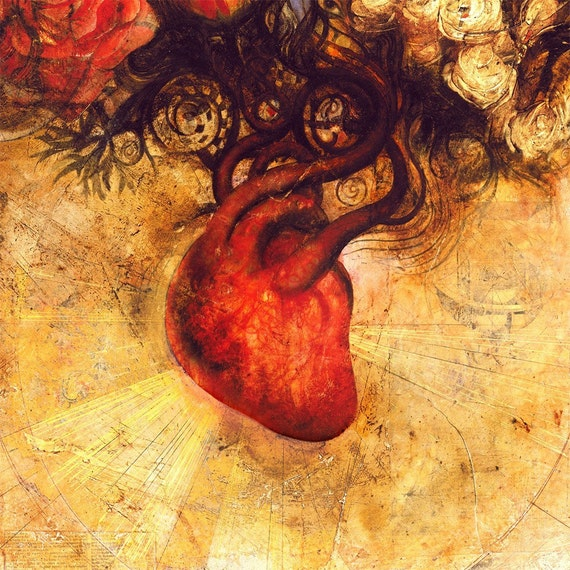 ART HEART Fine Art Print, Red, Orange, Heart, Floral, Flowers, Creativity, Love, Limited Edition