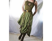 Khaki Green Dress cotton jersey - Green with Envy - Indie Couture Military burlesque