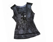 Sexy Eco Bamboo Tank Top Black with faux leather detailing Handmade shirt Couture