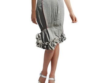 Ruffled denim Skirt  industrial romantic - made to order - indie couture Fashion