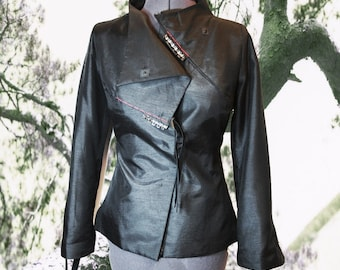 Silk Jacket Handmade to order Black Sculpture Art wear coat
