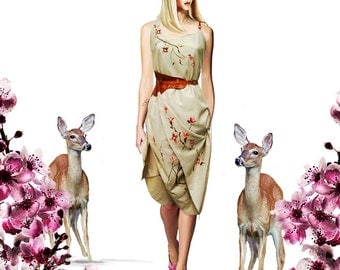 Cherry Blossom Linen Geisha Romantic couture convertible Origami Oriental Blossom hand-painted Dress  Avant Garde Bohemian Art Wear