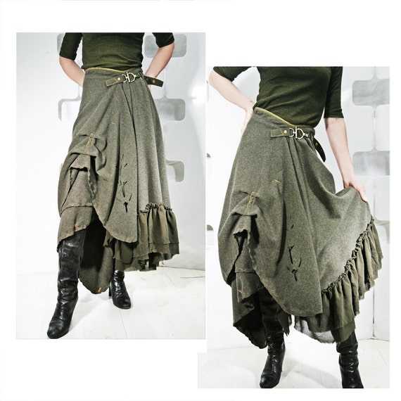 Khaki Origami Goddess Hustle Bustle Wool Skirt - OOAK - Winter couture fashion - Military frilly femme