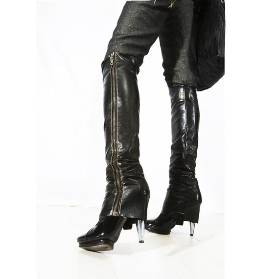 Faux leather Zip Up leg warmer boot legs - sultry sexy couture fashion - Black or White