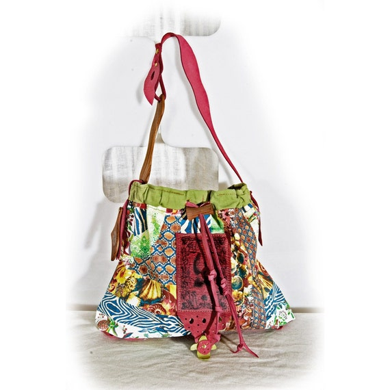 Tropical Temple Bag - Paradise Purse - summer - beach - seashell - animal print - jungle - indie couture - colorful art wear accessory