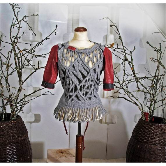 SALE Felt and Leather Top - romantic sweater - handmade - indie couture wearable Art - fringed blouse - cobweb - red and gray