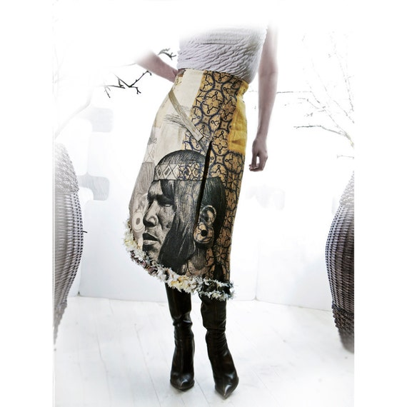 Linen Skirt PELLAVA Soturi Indie couture Art to wear Metropolis Monarch Papillon Butterfly Warrior Fashion Reduced price