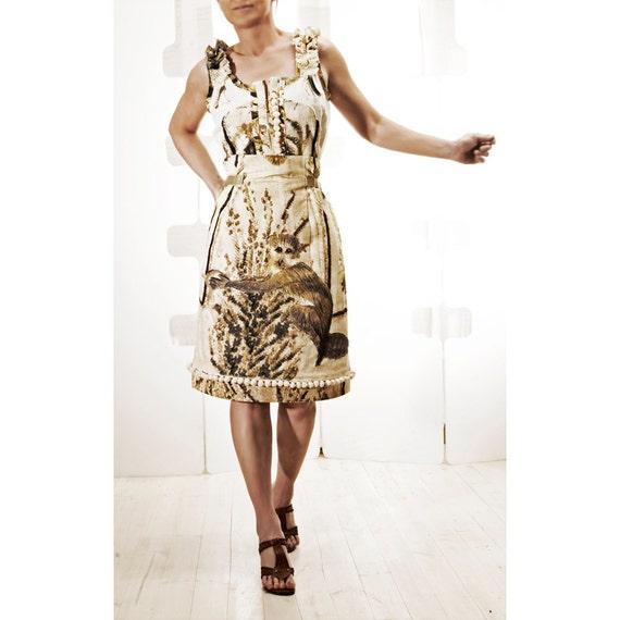 SALE Beige Skirt OOAK handmade Paradise jungle timeless fashion Art wear
