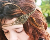 Chain Headpiece Headband  Hair Piece Bohemian Hipster Boho Hippie Bronze Floral Long Centerpiece Bridal Statement Jewelry - FunnyPeopleCo