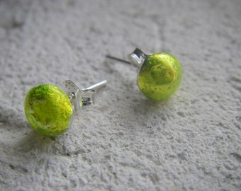 NEON YELLOW Scrap silver stud earrings