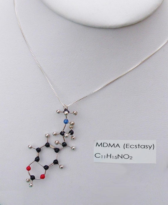 MDMA (ecstacy) Molecule Necklace - C11H15NO2