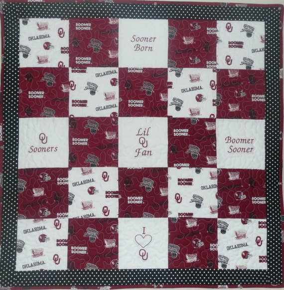 Oklahoma Sooners Embroidered Baby Quilt KIT