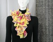 Yellow Floral Ruffle Scarf