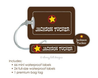WILD WEST waterproof combo set - Bottle and Sippy Cup labels and bag tags - several design choices
