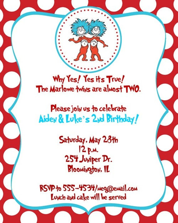 Items similar to Dr Seuss Thing 1, Thing 2 Birthday Party ...