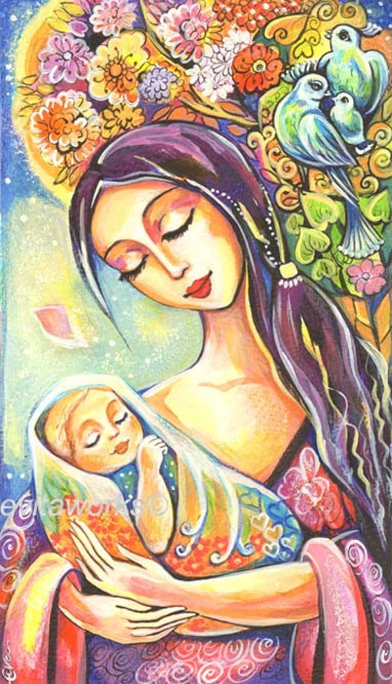 Mother And Baby Painting Folk Art Tree Of Life By Evitaworks