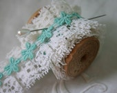 Vintage Ruffled LACE - 4 Yards, 1970's, Mint Green, White