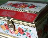 Vintage Floral Treasure Chest TIN
