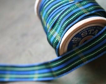 Taffeta Tartan Ribbon -  3 yards - Blue/Green