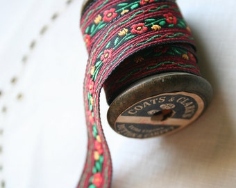 Red Black Floral Woven Ribbon -  3 yards