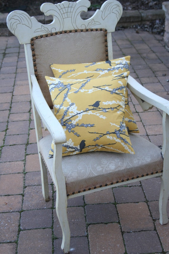 Sparrows on Yellow PILLOW COVER - 16 Inch