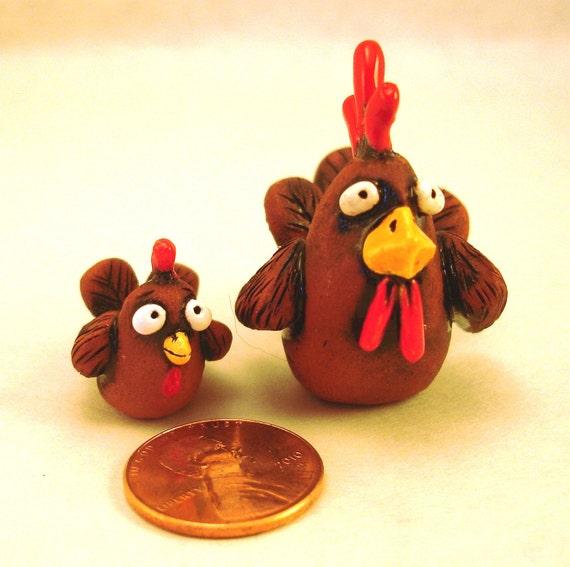 Hen & Chic Set - Shadowbox Miniature - Handmade by Rene'